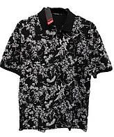 Поло футболка мужская Rey Polo c воротником большой размер Черная с принтом