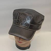 Мужская кожаная байкерская кепка - Модель 29-130