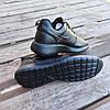 Черные кожаные кроссовки мужские nike roshe run копия на шнурках деми демисезон, фото 2