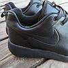 Черные кожаные кроссовки мужские nike roshe run копия на шнурках деми демисезон, фото 3
