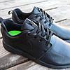 Черные кожаные кроссовки мужские nike roshe run копия на шнурках деми демисезон, фото 4