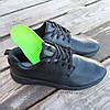 Черные кожаные кроссовки мужские nike roshe run копия на шнурках деми демисезон, фото 5
