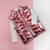 Детская жилетка без капюшона металик розовый  92