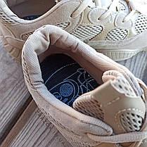 Бежевые серые Adidas Yeezy 500 эко - замша  КОПИЯ  женские кроссовки адидас изи 500 \ размеры: 36-39, фото 2