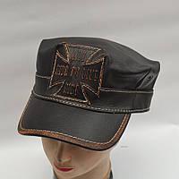 Мужская кожаная байкерская кепка - Модель 29-131