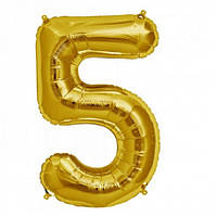 """Фольгована кулька """"Цифра 5"""" (золото) з гелієм 95 см РОКИТНЕ"""