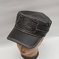 Мужская кожаная байкерская кепка - Модель 29-132