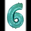 """Фольгована кулька """"Цифра 6"""" (тіффані) з гелієм 95 см РОКИТНЕ"""