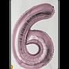 """Фольгована кулька """"Цифра 6"""" (рожеве золото) з гелієм 95 см РОКИТНЕ"""