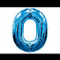 """Фольгована кулька """"Цифра 0"""" (синя) з гелієм 95 см РОКИТНЕ"""