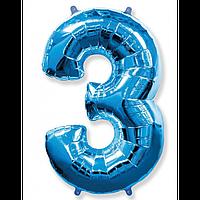 """Фольгована кулька """"Цифра 3"""" (синя) з гелієм 95 см РОКИТНЕ"""