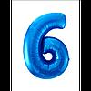 """Фольгована кулька """"Цифра 6"""" (синя) з гелієм 95 см РОКИТНЕ"""