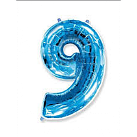 """Фольгована кулька """"Цифра 9"""" (синя) з гелієм 95 см РОКИТНЕ"""