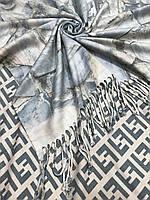 "Двухсторонний женский платок в серо-голубом цвете ""FENDI""- купить на Kosinka.net"