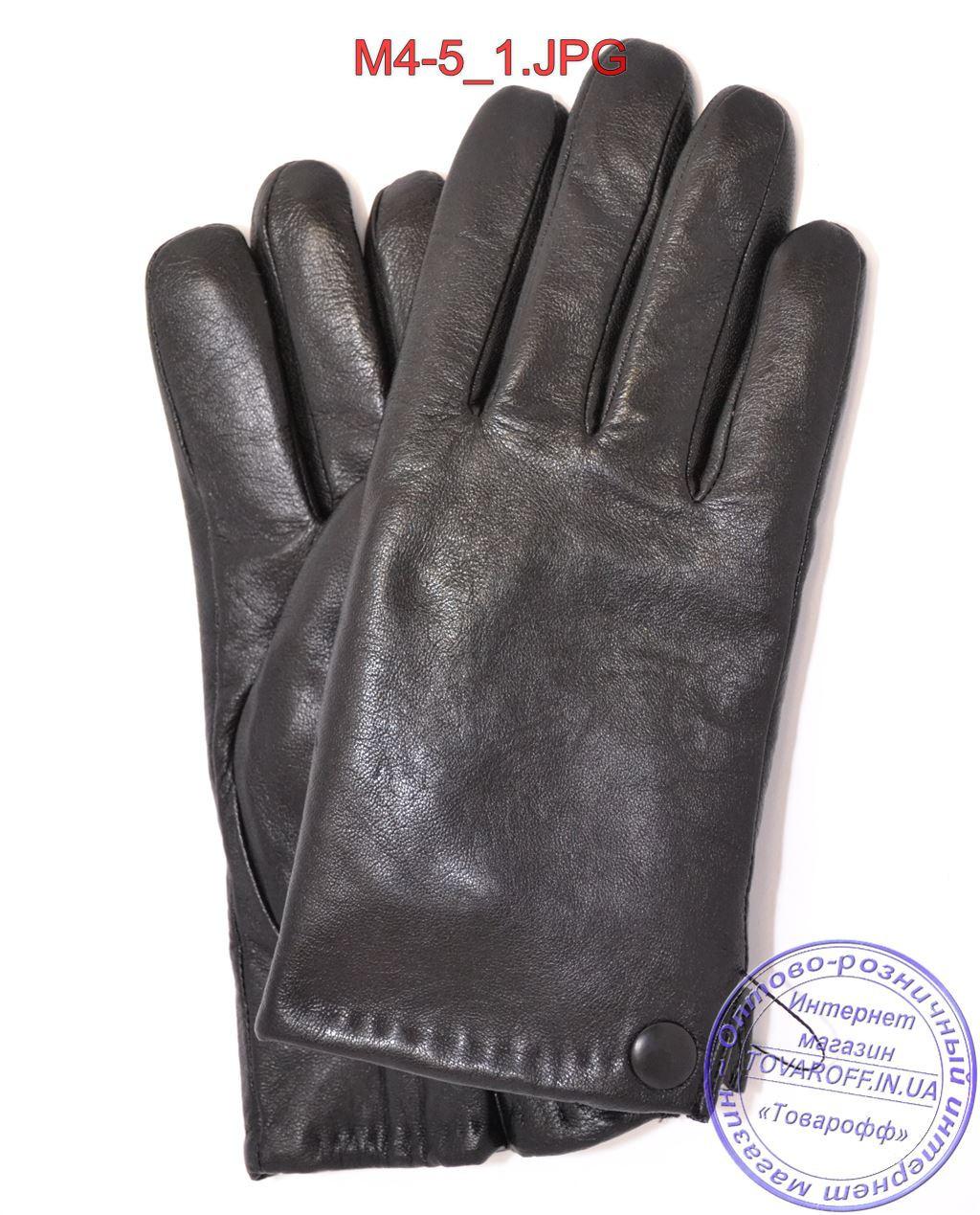 Мужские кожаные перчатки с махровой подкладкой - №M4-5
