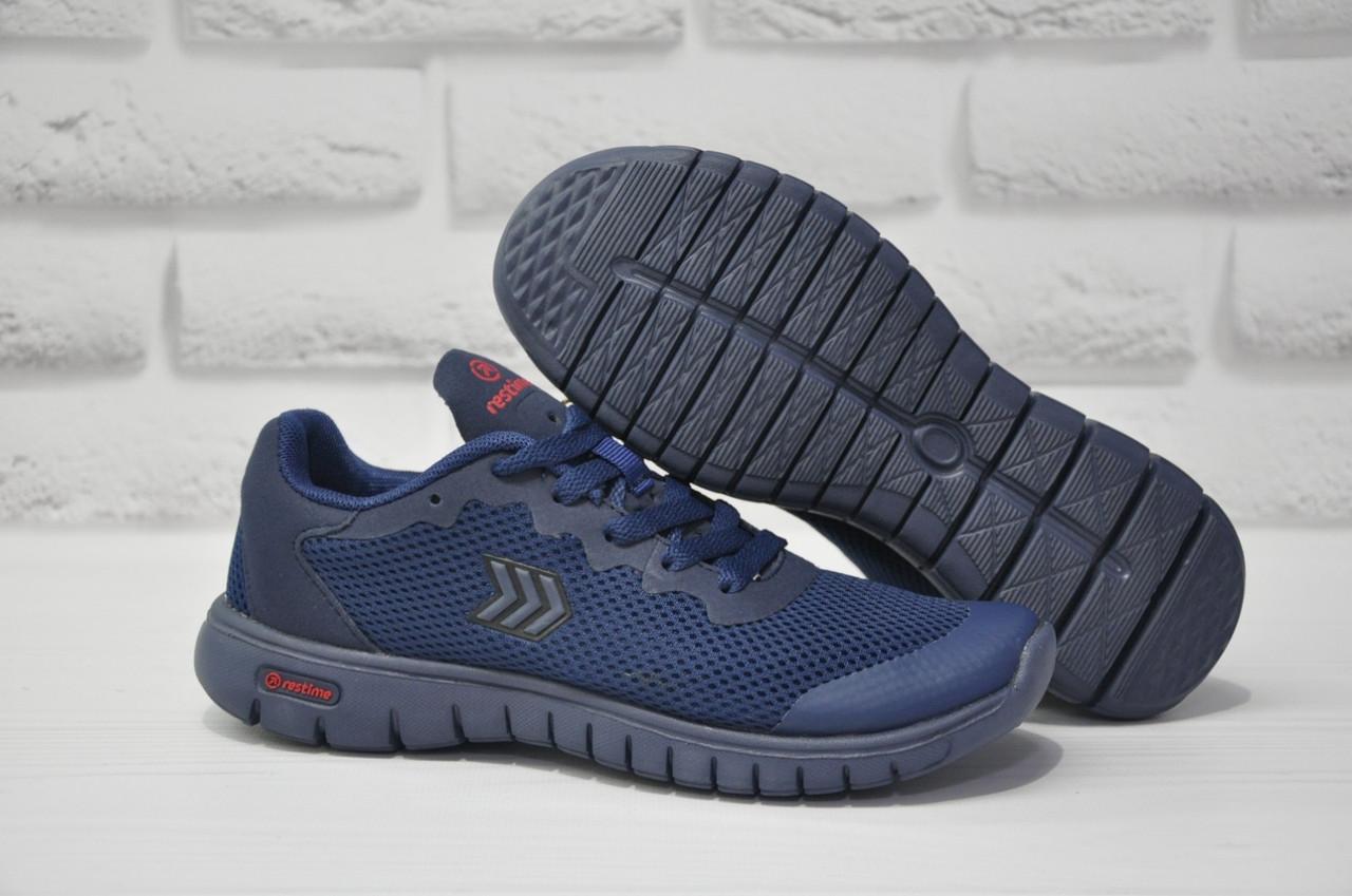 Подростковые лёгкие кроссовки сетка синие Restime
