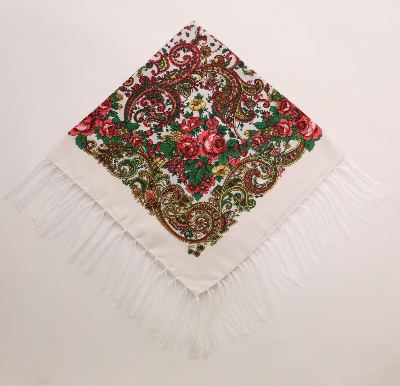Хустка вовняна біла з квітами т80/55