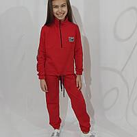 Детский спортивный костюм для девочки красного цвета 146