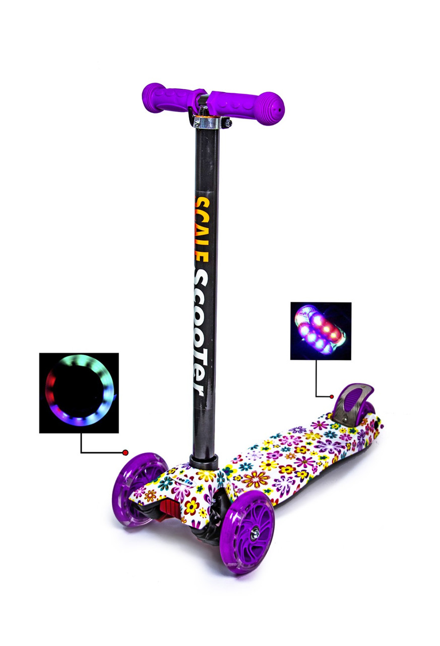 Дитячий самокат   Детский самокат MAXI. Violet Flowers. Светящиеся фиолетовые колеса