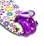 Дитячий самокат   Детский самокат MAXI. Violet Flowers. Светящиеся фиолетовые колеса, фото 4