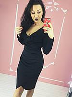 Нарядное женское силуэтное Платье Shi store 2004 S Черное с воланами