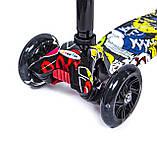 Дитячий самокат  Детский самокат MAXI Joker  Черные светящиеся колеса, фото 3