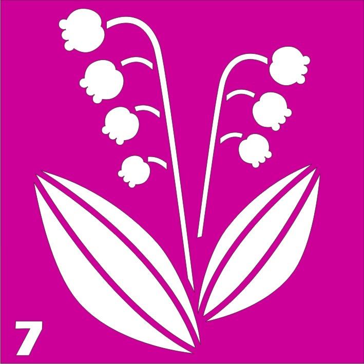 Колокольчики № 7 - трафарет для био тату хной и глиттер от Boni Kasel 6*6 см