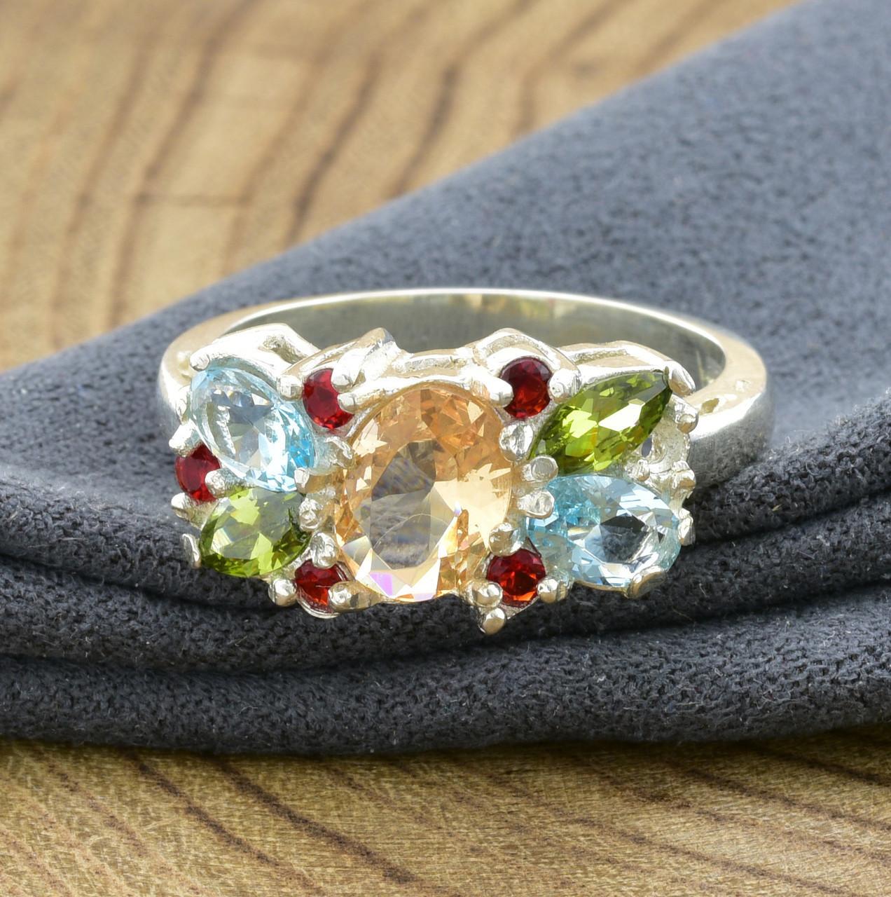 Серебряное кольцо Лето вставка разноцветные фианиты вес 4.1 г размер 20