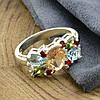 Серебряное кольцо Лето вставка разноцветные фианиты вес 4.1 г размер 20, фото 3