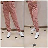 Женские стильные брюки штаны с карманами на резинке вельвет размер: 42, 44, 46, 48, фото 2