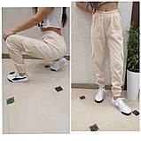 Женские стильные брюки штаны с карманами на резинке вельвет размер: 42, 44, 46, 48, фото 6