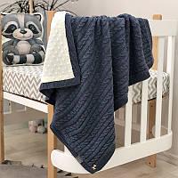 Плед Маленькая Соня WellSoft Косы 80*100 см хлопковый вязаный утепленный детский синий арт.8252183
