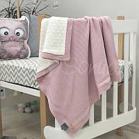 Плед Маленькая Соня WellSoft Рогожка 80*100 см хлопковый вязаный утепленный детский розовый арт.825109