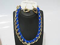"""Колье набор цепь """"золотая"""" с синей лентой и сережки в виде звеньев , защелка на карабинчике"""