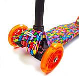 Детский самокат MAXI. Caramel 2. Оранжевые светящиеся колёса., фото 2