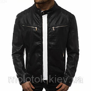 Мужская кожаная куртка демисезонная черная xxl