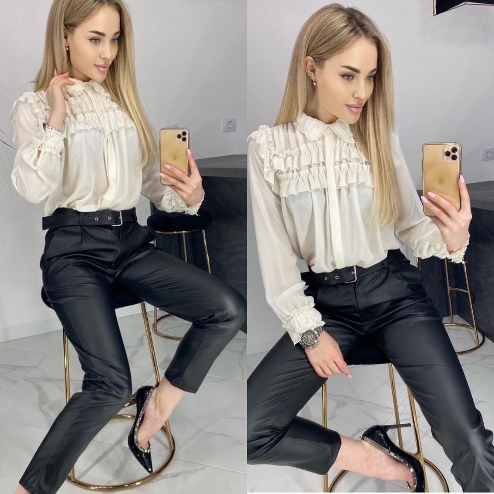 Брюки женские, эко кожа, кожаные штаны, черные, стильные, модные, черные, с карманами и поясом в комплекте