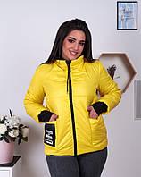 Женская осенняя куртка на молнии плащевка манжет и капюшон трикотаж размер:48-50,52-54,56-58,60-62