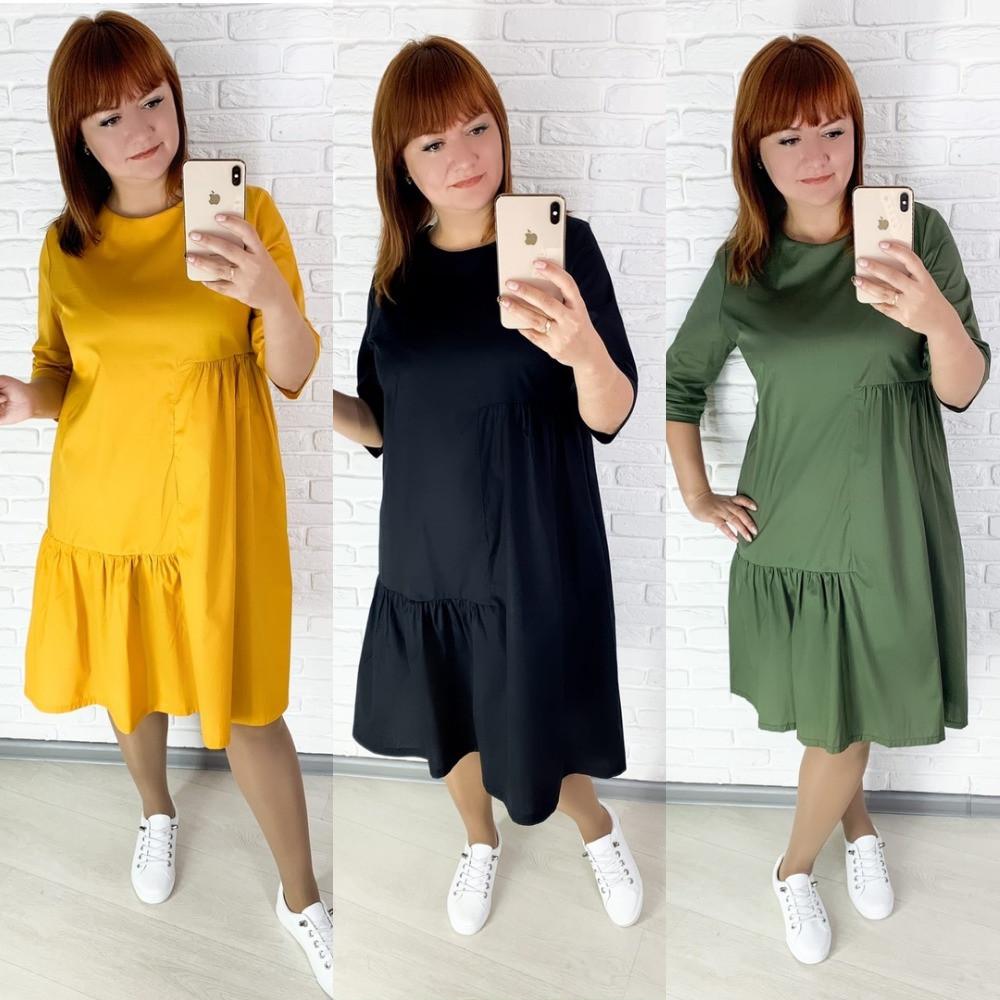 Платье, женское, повседневное, короткое, свободное, с оборкой, модное, молодежное, до 56 р-ра