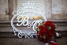 Монограма на весілля з дерева фарбування в будь-який колір, МДФ 10 мм і 3 мм
