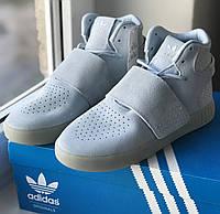 Женские высокие кроссовки Адидас Оригинал Adidas Tubular Invader Strap Blue