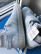 Женские высокие кроссовки Адидас Оригинал Adidas Tubular Invader Strap Blue, фото 2