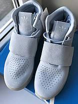 Женские высокие кроссовки Адидас Оригинал Adidas Tubular Invader Strap Blue, фото 3