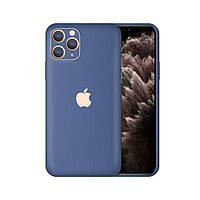Виниловая наклейка для iPhone 11 pro синий шлифованный металл. Чехол для задней поверхности телефона