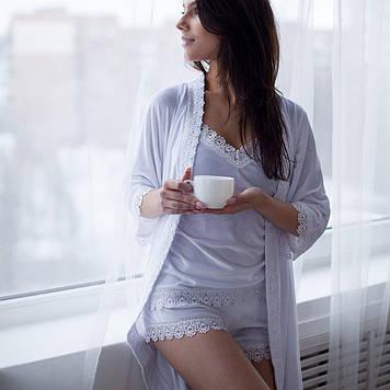 Комплект майка з шортами і халатом для дому та сну в розмірах 42,4,46,48,50