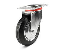 Колеса металлические с литой черной резиной, диаметр 200 мм, с поворотным кронштейном LIGHT