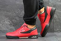 Мужские кожаные кроссовки, кеды Fila. артикул: 6328 красные с черным