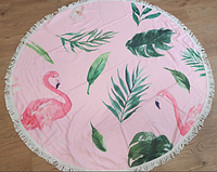 Круглое пляжное махровое покрывало Пальмы и фламинго 150*150