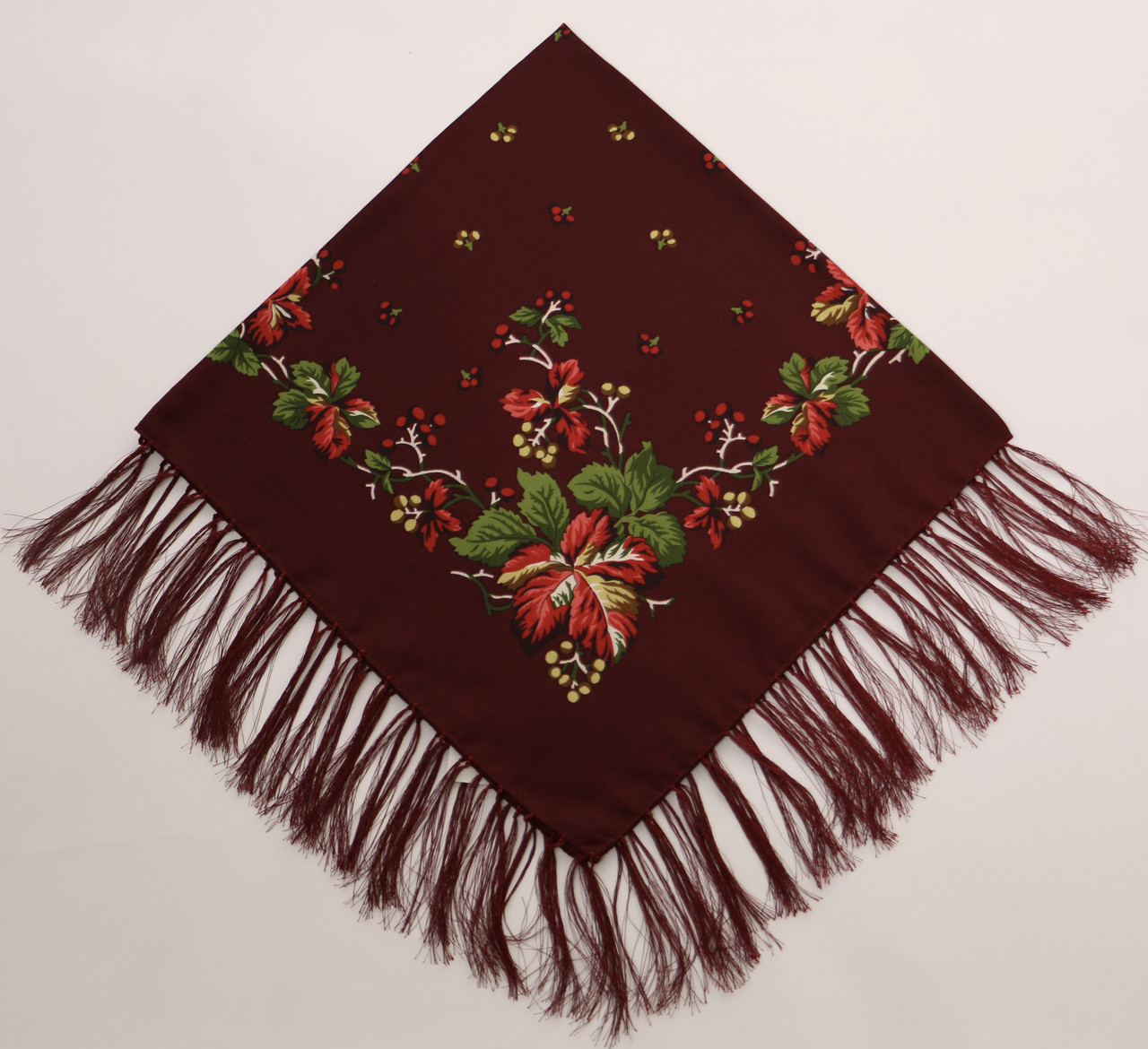 Хустка вовняна бордва з квітами т80/134