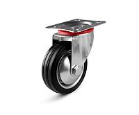 Колеса металлические с литой черной резиной, диаметр 75 мм, с поворотным кронштейном LIGHT
